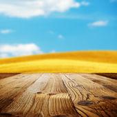 Wood background on the tuscany landscape — Stock Photo