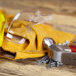 Yellow helmet and tool belt. — Stock Photo #39884981