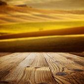 Wood textured backgrounds on the tuscany landscape — Stock Photo