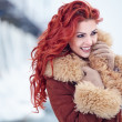 Stock Photo: Red hair womin wintertime