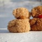 Teddy bears on a snow around each — Stock Photo #40127099