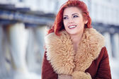 Red hair woman in wintertime — Stock Photo