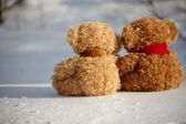 Teddy bears on a snow around each — Foto Stock