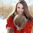 Beautiful girl freezing in winter park. pictures in warm colors — Stock Photo #40171715