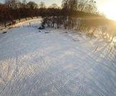 Traces on snow background — Stockfoto