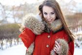 Beautiful woman portrait in winter — Stock Photo