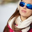 Happy smiling woman in ski goggles — Stock Photo