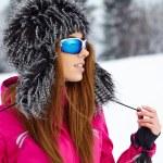 Woman wearing ski goggles — Stock Photo #40500681