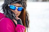 Woman wearing ski goggles — Stock Photo