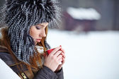 Woman Enjoying Hot Drink In Cafe — Stockfoto