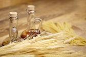 Dried Italian spaghetti on old wood table — Stock Photo