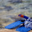 Stock Photo: Mask, snorkel and fins for snorkeling