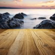 Stock Photo: Wooden table on beach
