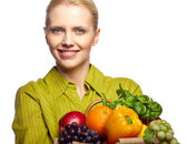 Woman with a grocery shopping bag — Stock Photo
