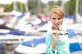Woman on vacation on marine — Stock Photo