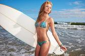 Woman Surfer Girl in Bikini with Surfboard — Stock Photo