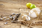 Easter basket with Eggs — Stock Photo