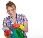 Young woman cleaning — Stock Photo
