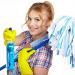 Housewife Ready To Fight With Spray Bottle and Mop — Stock Photo #42766147
