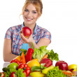 Woman with lot of fruits and vegetables — Stock Photo