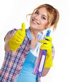 Frühling-putzfrau reinigung sprühflasche zeigen. — Stockfoto