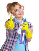 Spring cleaning woman pointing cleaning spray bottle. — Stock Photo