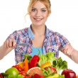Woman with vegetables and fruits — Stock Photo #42891481
