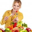Woman with vegetables and fruits — Stock Photo #43193237