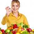 Woman with vegetables and fruits — Stock Photo #43193247