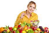 Woman with vegetables and fruits — 图库照片