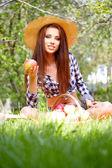 Woman Eating Organic Apple — Stock Photo