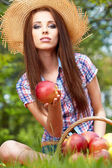 Woman Eating Organic Apple — Stock Photo