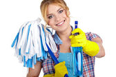 Housewife cleaner — Stock Photo