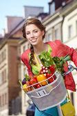 Frau mit Fahrrad und Lebensmittel — Stockfoto