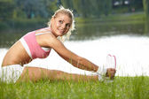 Fitness Model .Outdoor training — Stock Photo