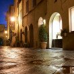 Illuminated Street of Pienza — Stock Photo #48094185