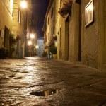 Illuminated Street of Pienza — Stock Photo