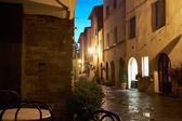 Illuminated Street of Pienza — Stock Photo