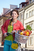 Spring woman with bicycle and groceries — Stockfoto