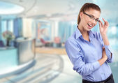 Business woman with glasses — Stock Photo