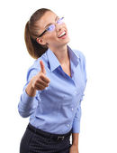 Young woman showing ok — Stock Photo