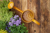 Frame of garden tools and flowers. — Stock Photo