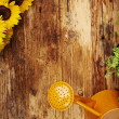 Frame of garden tools and flowers. Top view.  — Stock Photo #50282779