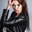 The girl in black leather jacket — Stock Photo #50282921