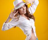 Summer smiling woman in studio portrait  — Stock Photo