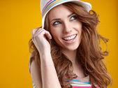 Summer smiling woman in studio portrait  — ストック写真