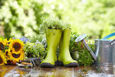 Rubber boots with watering can in wood terrace  — Stock Photo
