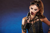 Steampunk woman over gunge background. . Fantasy fashion for cov — Stock Photo