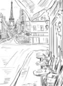 Street in paris -sketch  illustration  — Stock Photo