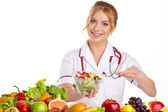 Doctor dietitian recommending healthy food — 图库照片